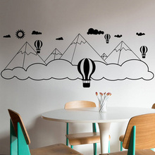 Kidsroom Baby Room Decoration Balloon Mountain Clouds Wall Sticker Natural Beauty Mural Boys Decor Fashion Stickers W196