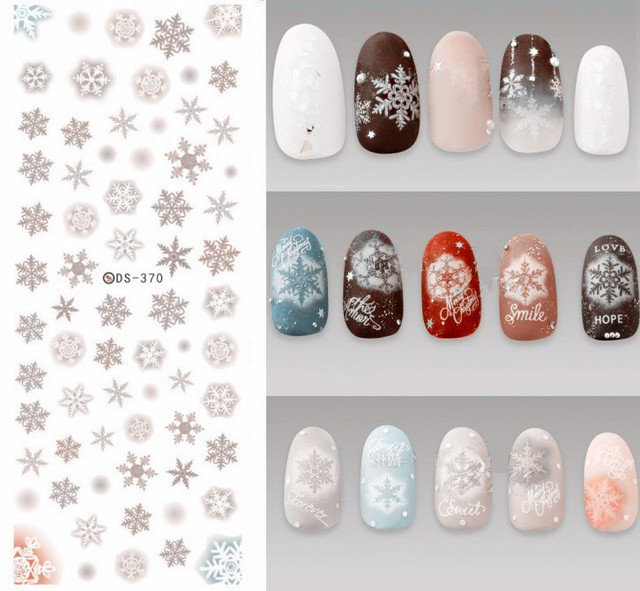 new water transfer nail art stickers nail decals xmas winter snowflakes watermark fingernails decals diy nail