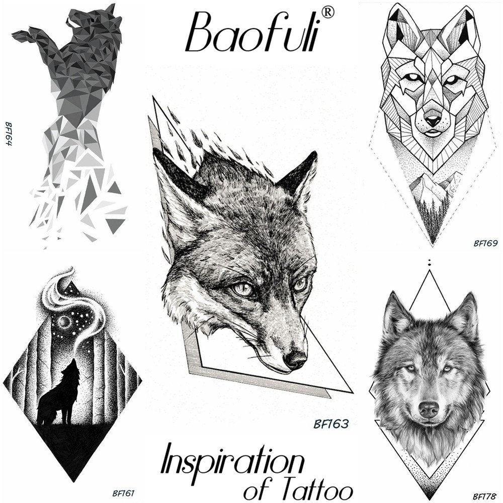 Men temporary geometry tattoo black king wolf pencil drawing tattoo sticker back arm leg ankle body art fake waterproof tatoos