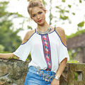 2017 Tops Fashion Chiffon Shirt Female Off The Shoulder Batwing Sleeve Summer Street Top Printing Sexy Women White Blouse MZ667g