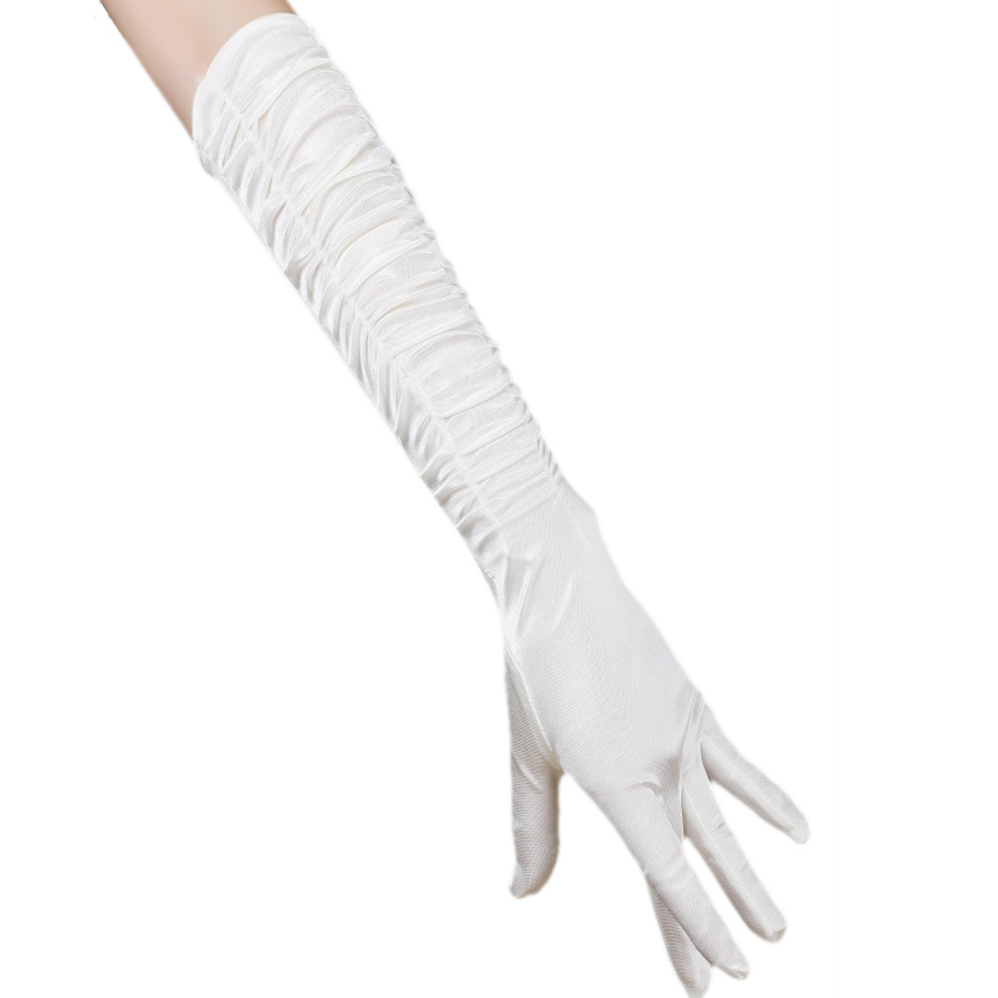 Free shipping 5pcs lot white long design satin bridal for Wedding dress with long gloves