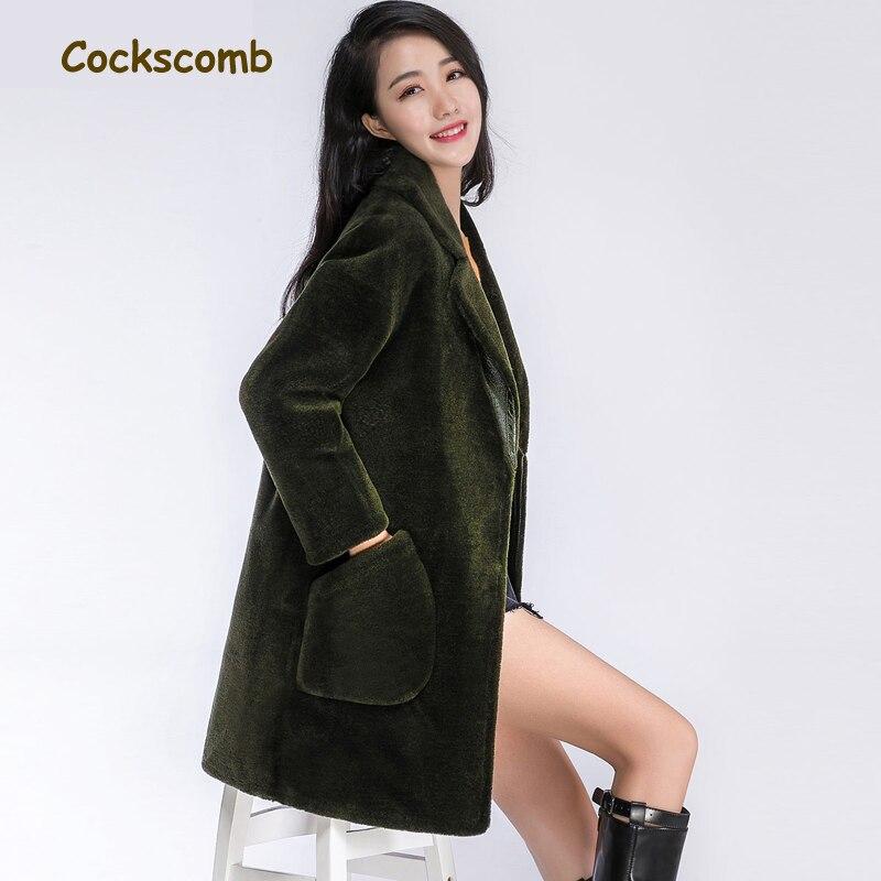 De Femmes Agneau Down Hiver Creative Manteau Survêtement Femme Laine Fourrure Green Poches Col Turn New Marque Coq Crête 2018 Vestes Army qvwCpqd