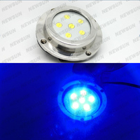 DC 12V 6x1W Surface Mount Led Marine Lights Blue Color IP68 Waterproof Underwater Yacht Boat Fountaion