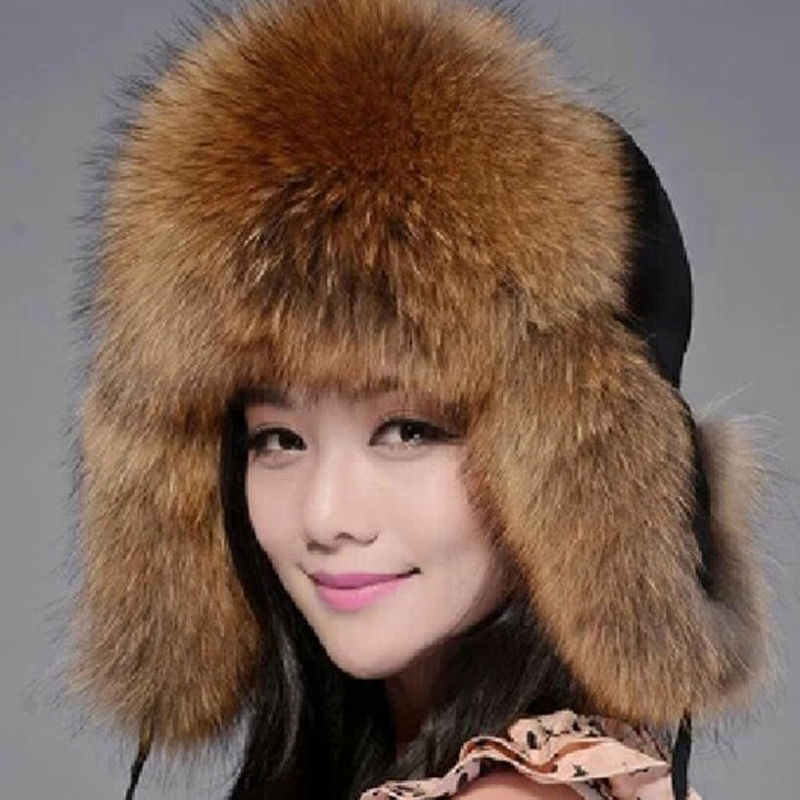 Winter Genuine Leather Fur Hat Real Silver Fox Fur Outdoor Ear Protection Caps 2017 New High Quality Natural Raccoon Fur Hat aiweiyi womens high quality genuine leather real fur 100