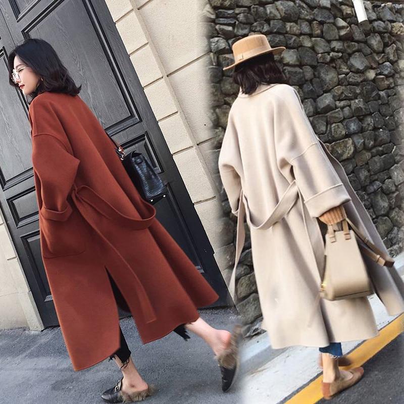 Autumn Winter Woolen Coat Women Loose Large Size Wool Coats Female Belt Slim Long Basic Coats Both Sides Of The Slit Jacket N332