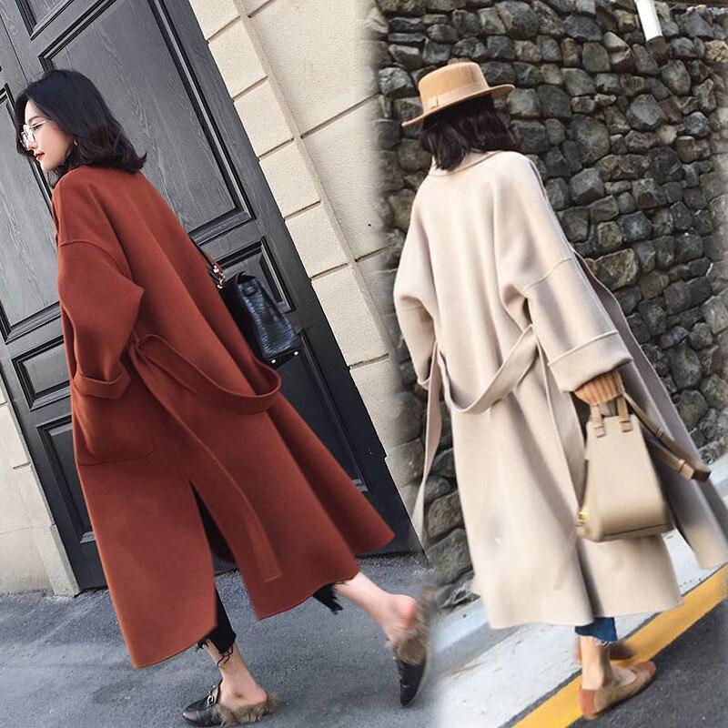 Outono inverno casaco de lã das mulheres Soltas tamanho Grande casacos de lã Cinto feminino Básica longo fino casacos de Ambos os lados da fenda jaqueta N332