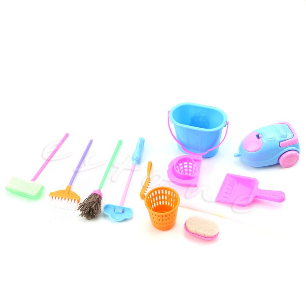9Pcs Creative Mini Home Furniture Furnishing Cleaning Cleaner Kit For Doll Houses image