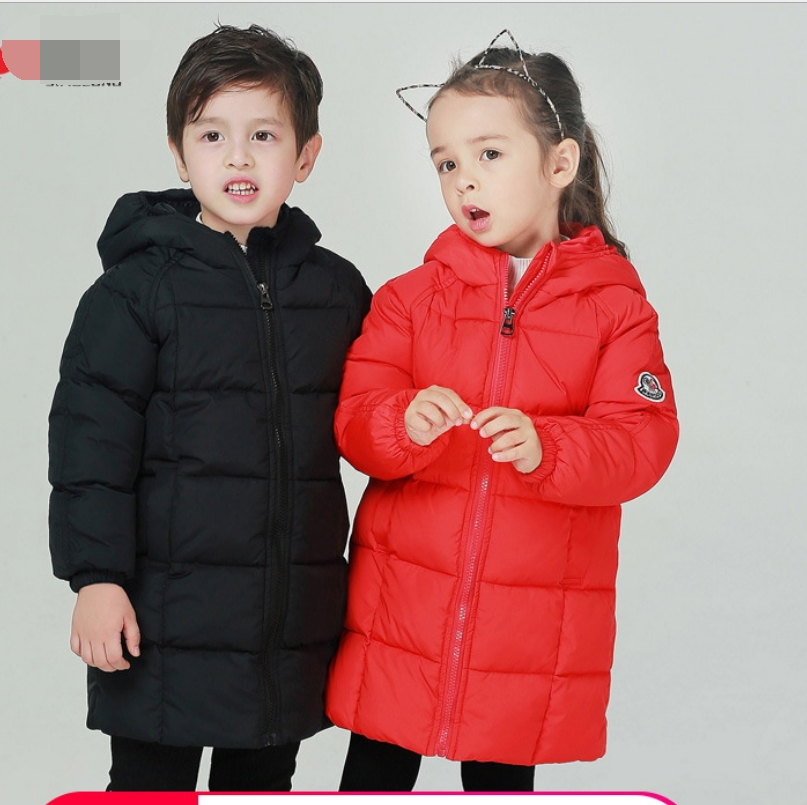 Children's Winter warm Cotton Padded Jackets 2018 Baby Boys Girls Hooded Parkas Coats Kids Autumn Warm Clothes Long down jacket|Down & Parkas| |  - title=