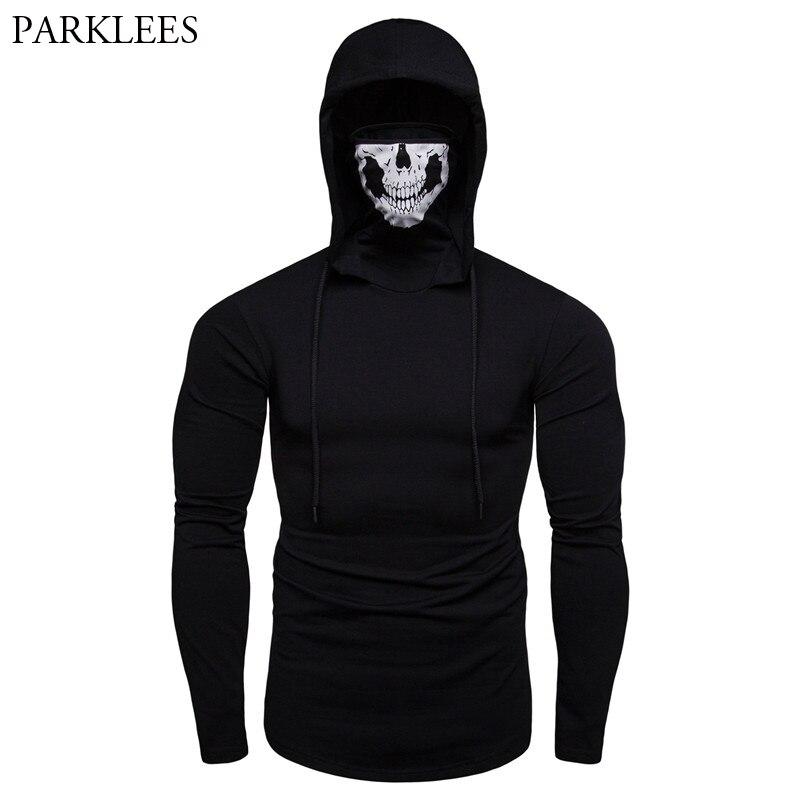 Cool Black Skull Mask Thumb Holes Cuffs Hoodie Tshirt Men
