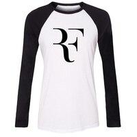 الأزياء روجيه فيدرر rf المشجعين راجلان كم طويل تي شيرت المرأة فضفاض القطن t-shirt dj skrillex المشجعين الزى فتاة سيدة هدية المحملة