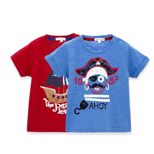 Хлопок O Шеи Младенца Новый Лето Мальчики Одежда футболка С Коротким Рукавом Красный Синий Дети Милые Футболки Топ тройники YL133