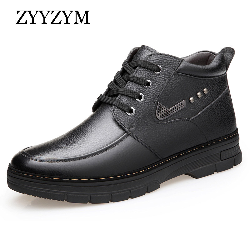 ZYYZYM Mens Boots Winter Lace Up Style Leather Snow Shoes Ankle Plush Keep Warm Male Boots high Quality|Snow Boots| - AliExpress