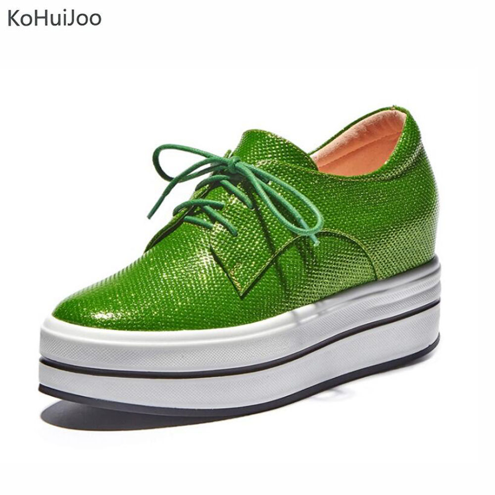 KoHuiJoo 2018 Spring Casual High Flat Platform Shoes Women Lace up Thick Heel Genuine Leather Shoes Flat Creepers Ladies Girls nayiduyun women genuine leather wedge high heel pumps platform creepers round toe slip on casual shoes boots wedge sneakers