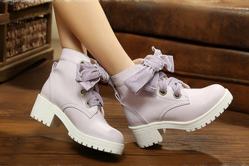 ФОТО Women Purple Boots Lace Up High Heel PU Leather Boots New 2017 Ladies Bow Boots Anti-Slip Bottom Free Shipping