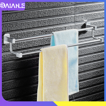 Double Towel Bar Aluminum Toilet Washroom Towel Rack Hanging Holder Wall Mounted Bathroom Towel Holder Hanger Rail Storage Shelf towel holder stainless steel doubel towel bar holder bathroom towel rack hanging holder wall mounted toilet clothes hanger shelf