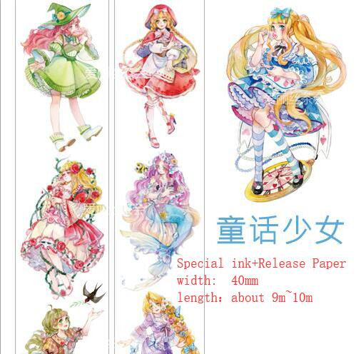Special ink Cartoon character Cute Fairy tale girl Washi Tape DIY Scrapbooking Sticker Masking Tape School Office Supply Escolar 45mm wide cartoon character time boy decoration washi tape diy planner scrapbooking masking tape escolar