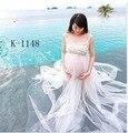 Рукавов Твердые Материнства Фотографии Реквизит Белое Кружево Беременности Dress Long Maternity Dress для Фотосессии