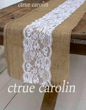 30x290cm Burlap Hessian jute Table Runner with lace Party vintage Wedding adornment decoration rustic wedding decor centerpieces wedding party lace vintage jute table runner burlap fabric for burlap chair sashes burlap ribbon wedding decor supplies 15 240cm