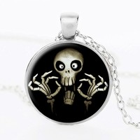 gcbl9 for kim send with packing resin round shape Skull head pattern 925 silver chain for man necklace