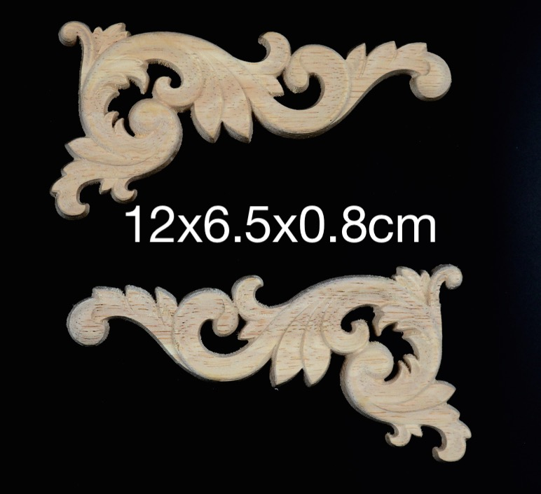 8PCS/LOT 12x6.5x0.8 Wood Decal European Furniture Accessories Solid Wood Trim scallop trim solid tee