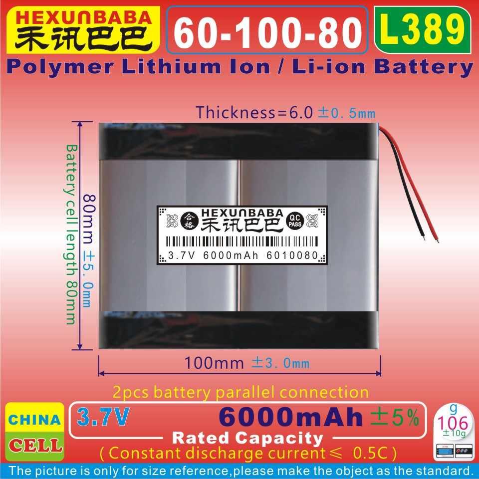 [L389] 3.7 V 6000 mAh [6010080] Polímero de íon de lítio/bateria Li-ion para tablet pc, GPS, banco de potência, MP3, MP4