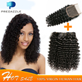 8A Deep Wave Brazilian Hair with Lace Closure Brazilian Deep Curly Virgin Hair with Closure 100% Human Curly Hair Extensions