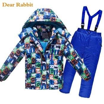 -30 תואר ילדי סקי חליפת בנות בגדי סטי מעיל סרבל עמיד למים עבה חיצוני בני בגדי חורף חם מעיל מכנסיים
