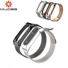 Mijobs Magnet STAP dla Xiaomi Mi Band 2 pasek mi Band 2 metalowy pasek na nadgarstek bransoletka dla mi Band 2 Miband 2 pasek Smart Watch Band tanie tanio Dorosłych Oddziałów Innych