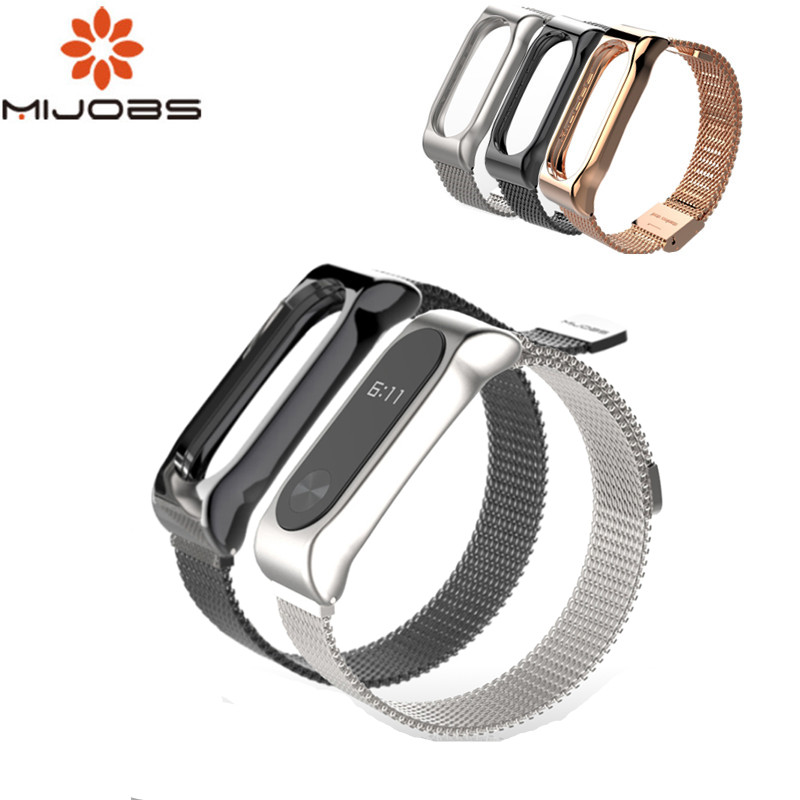 Mijobs Magnet Stap For Xiaomi Mi Band 2 Strap Mi Band 2 Metal Wrist Strap Bracelet For Mi Band 2 Miband 2 Smart Watch Band Strap