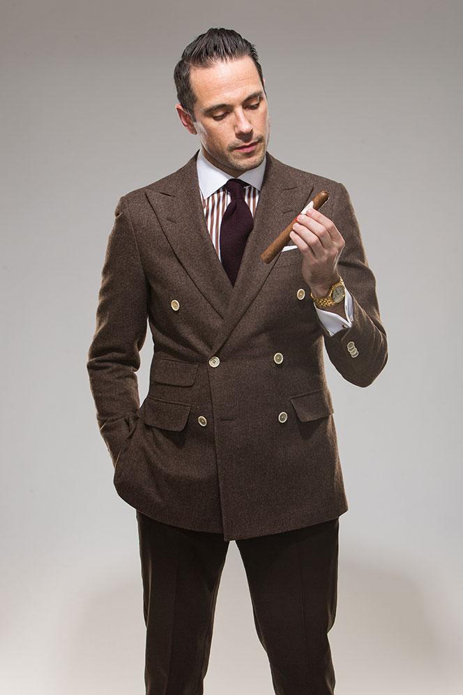 Latest Coat Pant Designs Brown Tweed Suits Men Blazer
