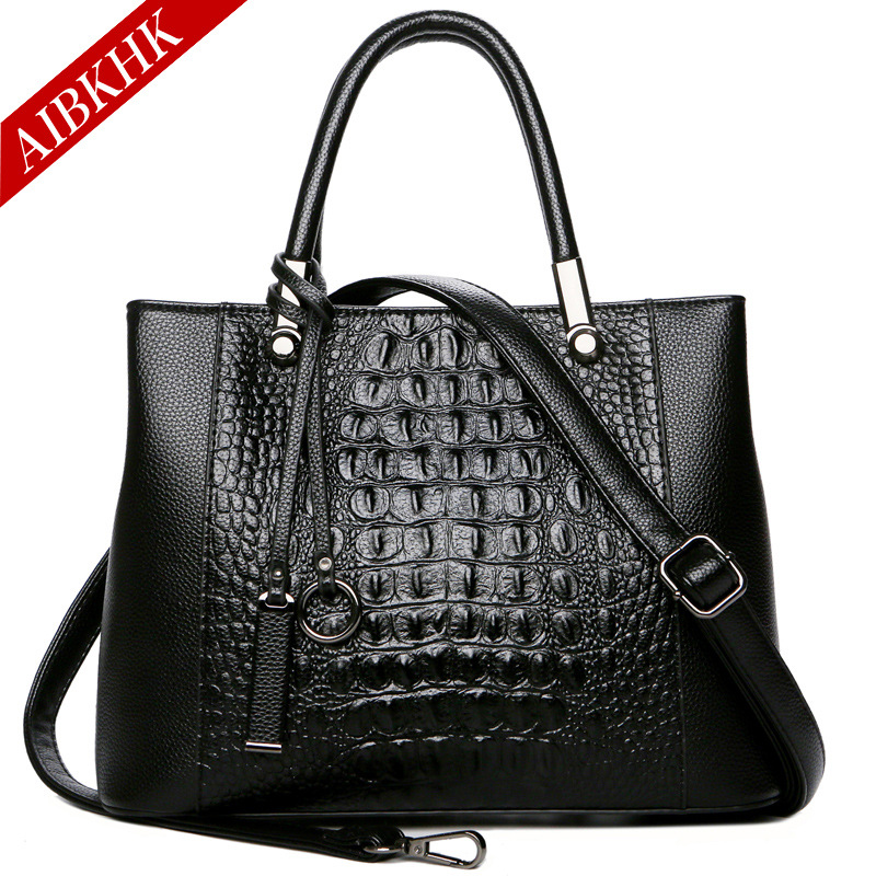 Genuine Leather Handbags Luxury Brand Alligator Shoulder Crossbody Bags for Women 2018 Black Large Totes Ladies Messenger Bag недорго, оригинальная цена