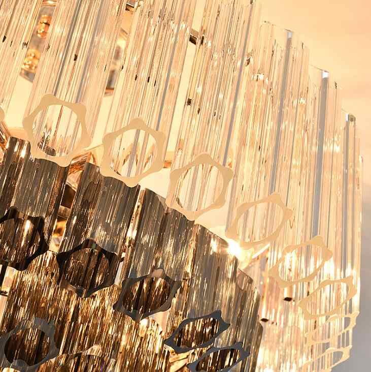 Atmosphère moderne modèle chambre art cristal lustre prune verre tube salon lampe lumière luxe art cristal lustre