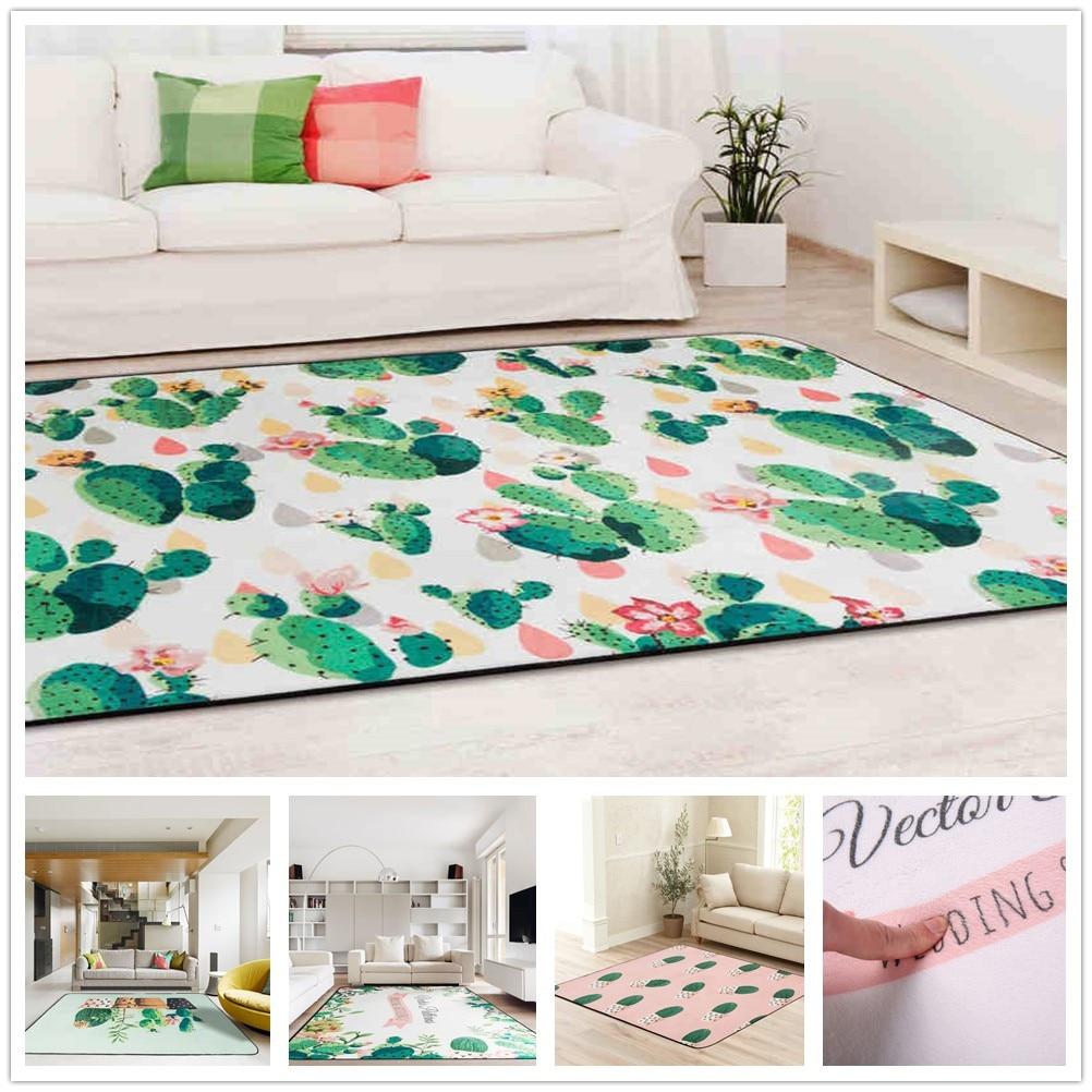 Plant Cactus Carpet Design Kids Bedroom Area Rug Child Crawling Play ...