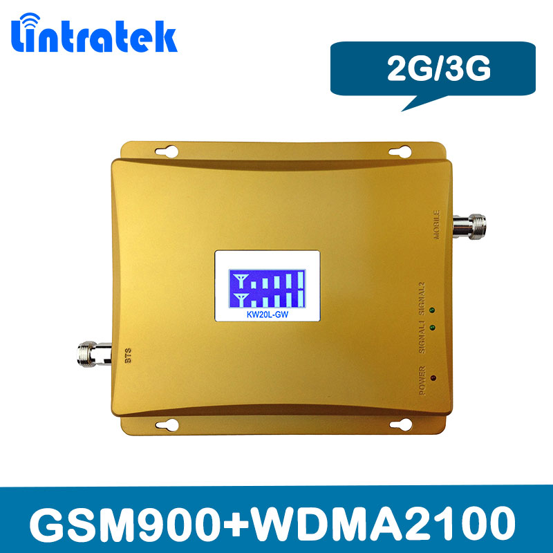 Lintratek LCD Display 3g 2100 mhz GSM 900 mhz Dual Band Handy Signal Booster GSM 900 2100 UMTS signal Repeater Verstärker
