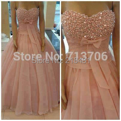 Ball gown Heavy beaded pearls Prom Dress Sweetheart Gowns Organza Custom Made Dresses 2015 - Amy Boutique store