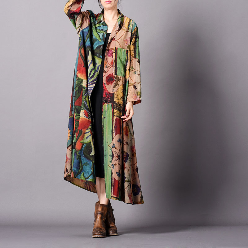New arrival spring women   trench   coat vintage casual turn down collar fashion silk personality over the knee tide   trench   coat