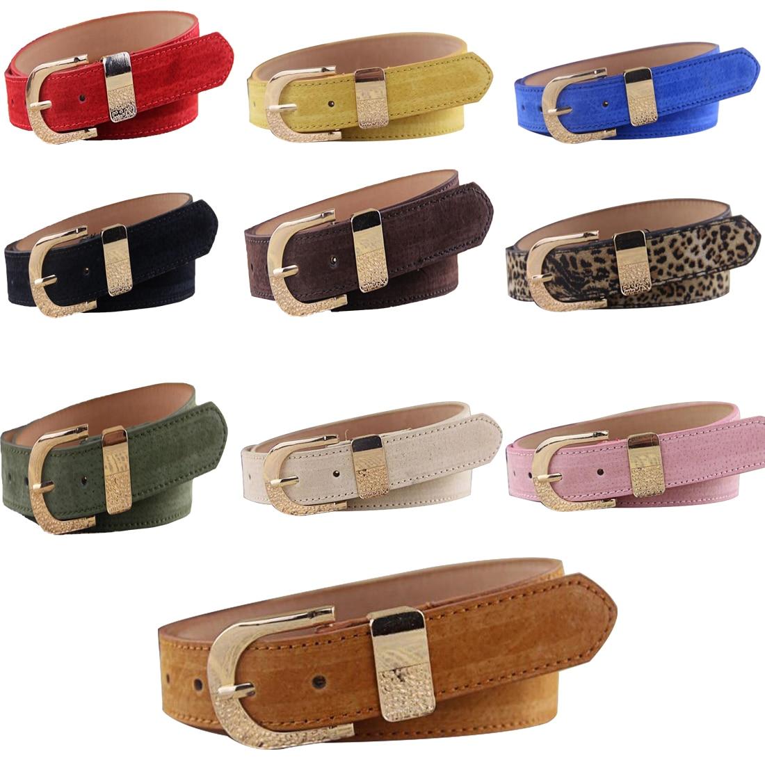 Comfortable Design Pigskin   Belts   Brief   Belts   Adjustable Frosted Solid Women Waist   Belts