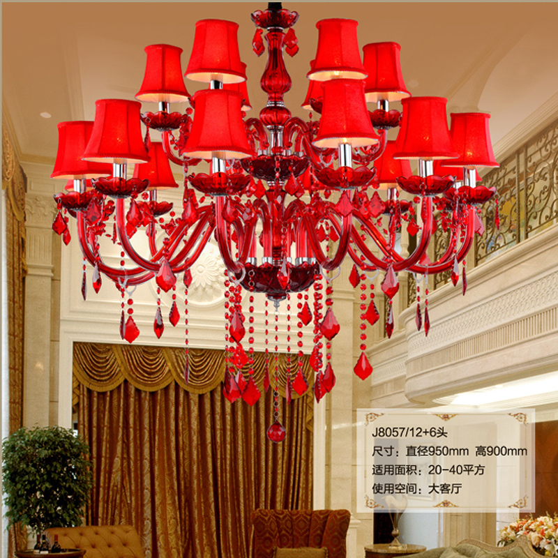 Inexpensive Red Chandelier: High Ceiling Red Crystal Chandelier Large Led Vintage
