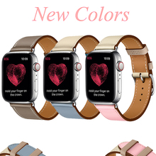 Leather strap for Apple watch 4 44mm 40mm band Iwatch 3/2/1 correa aplle watch 42mm 38mm bracelet belt NEW Single tour wristband цена