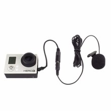 3.5mm Active Clip Microphone with Mini USB Audio Adapter Mic Cable For Gopro hero 3 3+ 4 Action Sports Camera Accessories kit