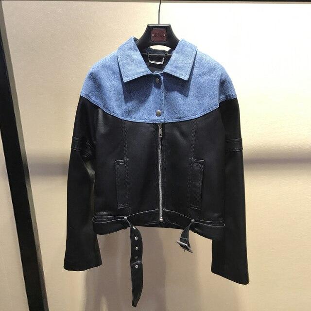 Jaquetas de couro reais das mulheres de estilo europeu de Moda primavera 2019 denim patchwork casaco de pele de carneiro moto & jaquetas de motoqueiro G119