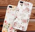 Caso designer para iphone 7 plus coque em material de silicone com desenhos florais do vintage moda de luxo