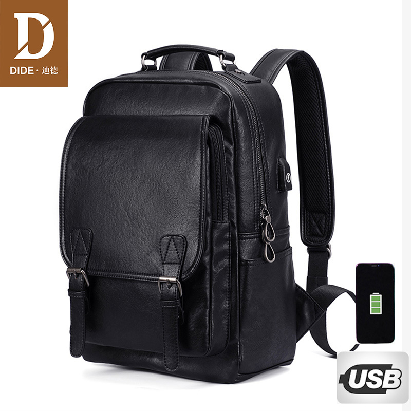 DIDE New USB Charging Backpack Vintage PU Leather laptop bac
