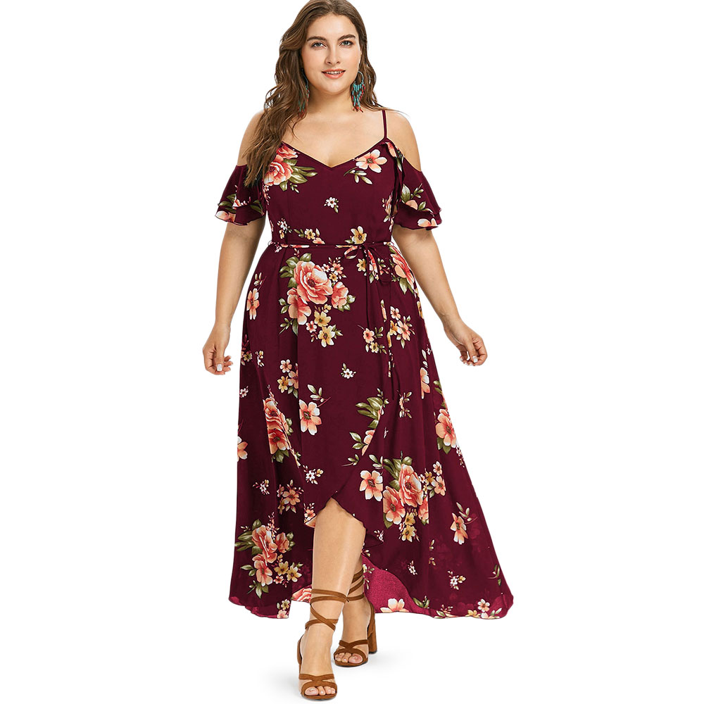 d804aebaa2f72 Wipalo Plus Size Cold Shoulder Belt Overlap Floral Print Dress Women  Spaghetti Strap Half Sleeves Dresses Bohemian Beach Dress