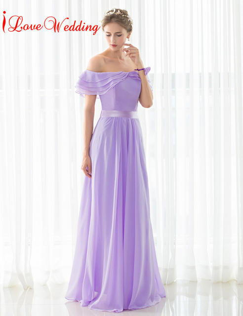 4661bdeeabe12 iLoveWedding Elegant Chiffon Bridesmaid Dresses Floor-Length A-line Off the  Shoulder Boat Neck Bandage Formal Bridal Gown 12509