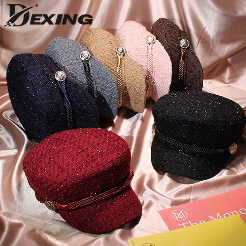 Autumn Thread Fashion Tweed Military Hat For Women Fashion Yacht Captain  Female Skipper Sailor Hat Newsboy Caps