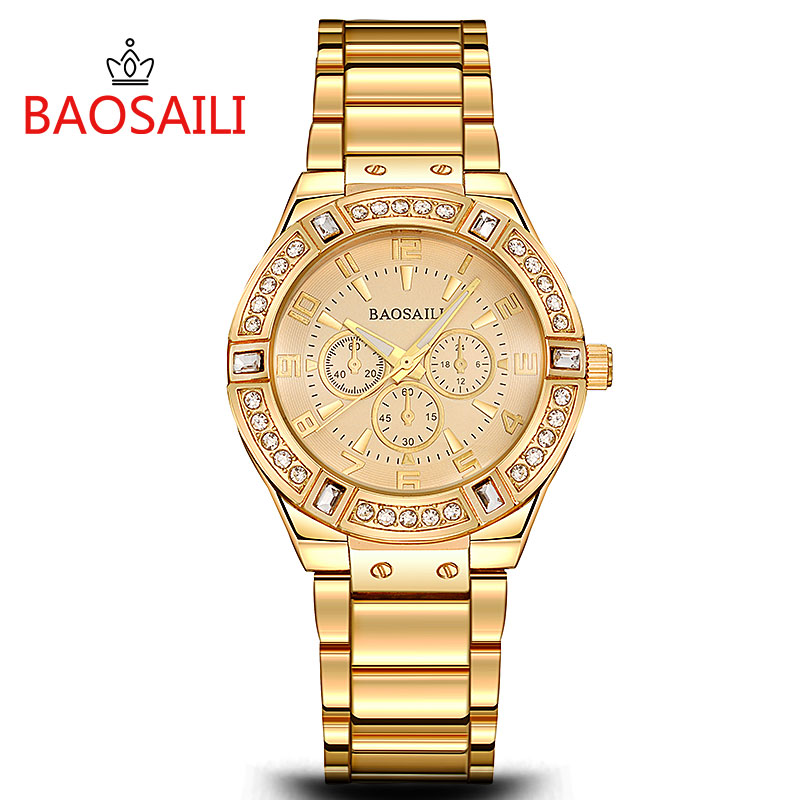 JW812 BAOSAILI Brand Women Luxury Gold Watch Ladies Crystal Dial Stainless Steel Band Watches Sub Dial Decoration Watch
