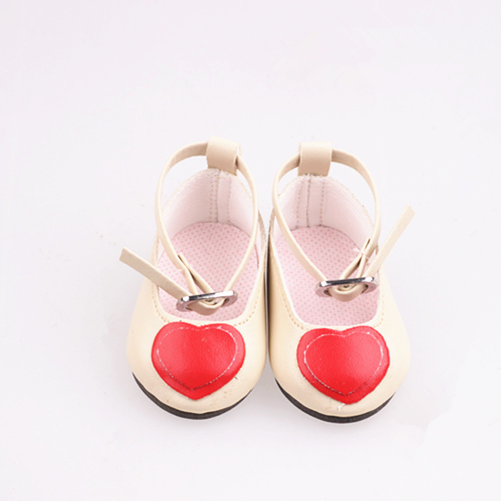Doll shoes red heart doll shoes for 18 inch american girl doll for baby gift n562