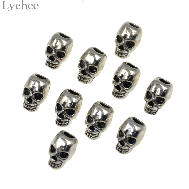 Lychee 10pcs/lot Gothic Punk Skull Hair Braid Dread Dreadlock Beads Cuff Clip Ring Headwear Jewelry For Men Women