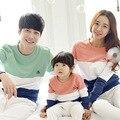 2017 nova família roupas combinando mãe/pai/stripe da longo-luva de algodão t camisas do bebê primavera/outono família clothing conjuntos